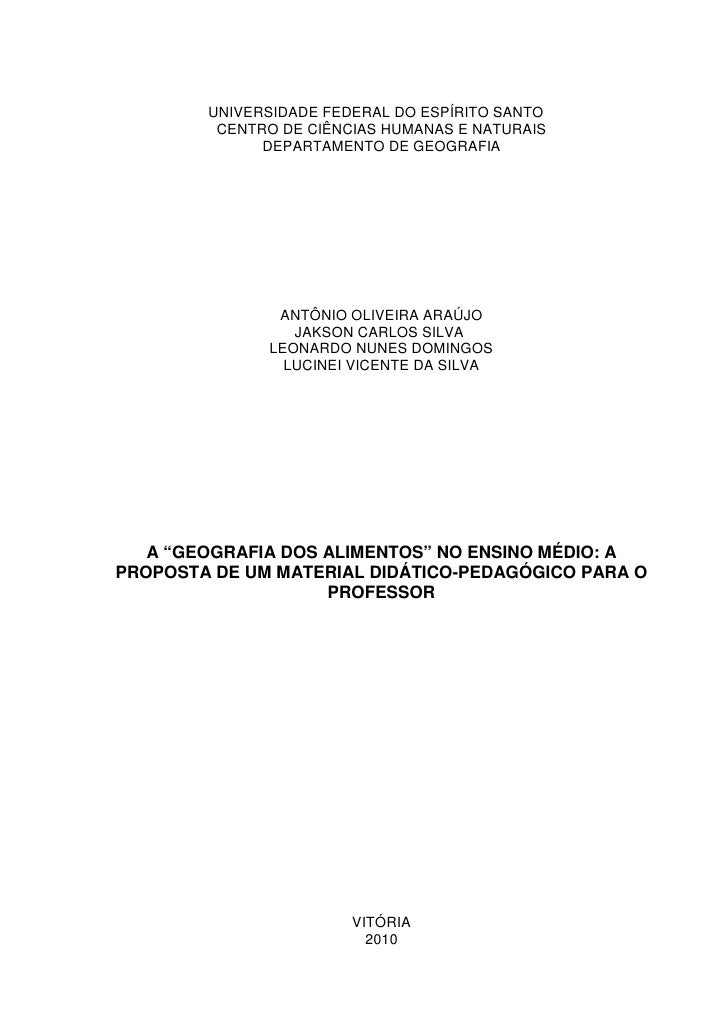 UNIVERSIDADE FEDERAL DO ESPÍRITO SANTO         CENTRO DE CIÊNCIAS HUMANAS E NATURAIS              DEPARTAMENTO DE GEOGRAFI...