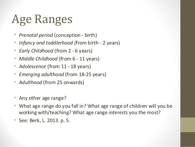 age ranges and human development