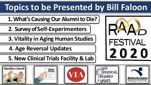 2 0 2 0 1.What'sCausingOurAlumnitoDie? 2. SurveyofSelf-Experimenters 3. Vitality in Aging Human Studies 4. Age Reversal Up...