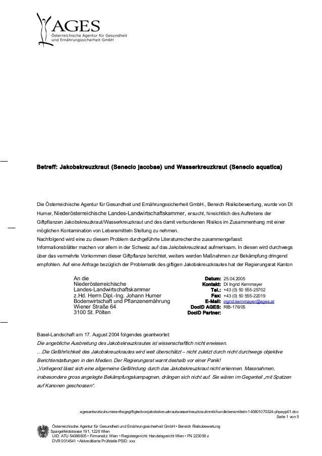 Die Österreichische Agentur für Gesundheit und Ernährungssicherheit GmbH., Bereich Risikobewertung, wurde von DI Humer, Ni...