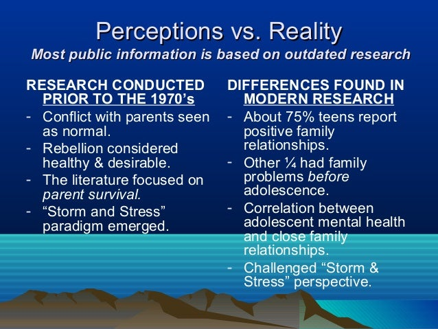Perceptions vs. RealityMost public information is based on outdated researchRESEARCH CONDUCTED             DIFFERENCES FOU...