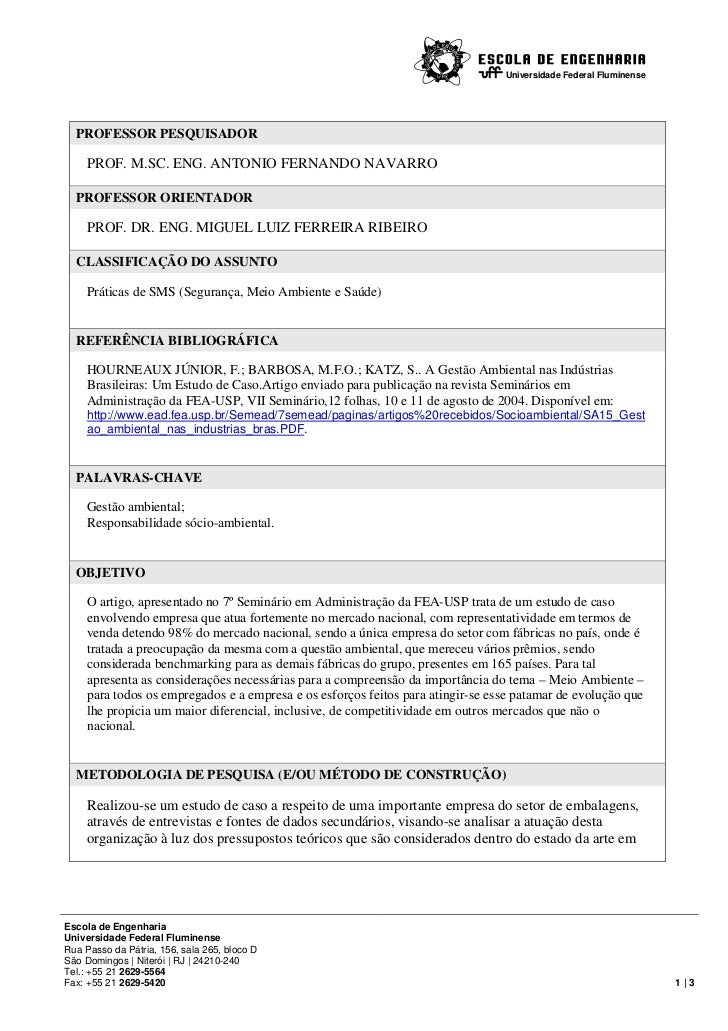 Universidade Federal Fluminense  PROFESSOR PESQUISADOR     PROF. M.SC. ENG. ANTONIO FERNANDO NAVARRO  PROFESSOR ORIENTADOR...