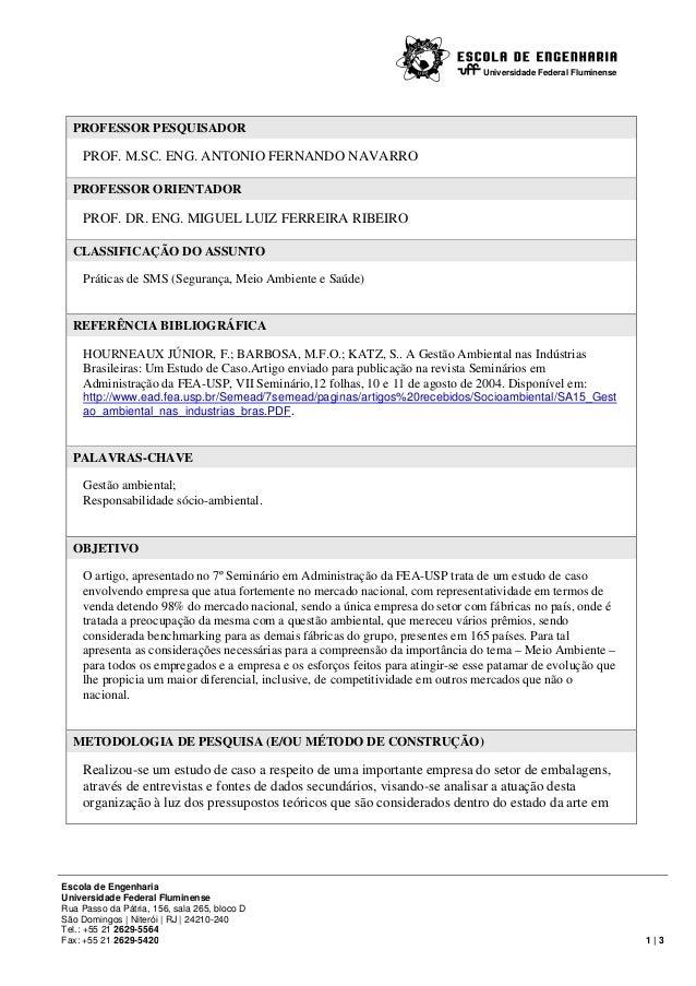Universidade Federal Fluminense Escola de Engenharia Universidade Federal Fluminense Rua Passo da Pátria, 156, sala 265, b...