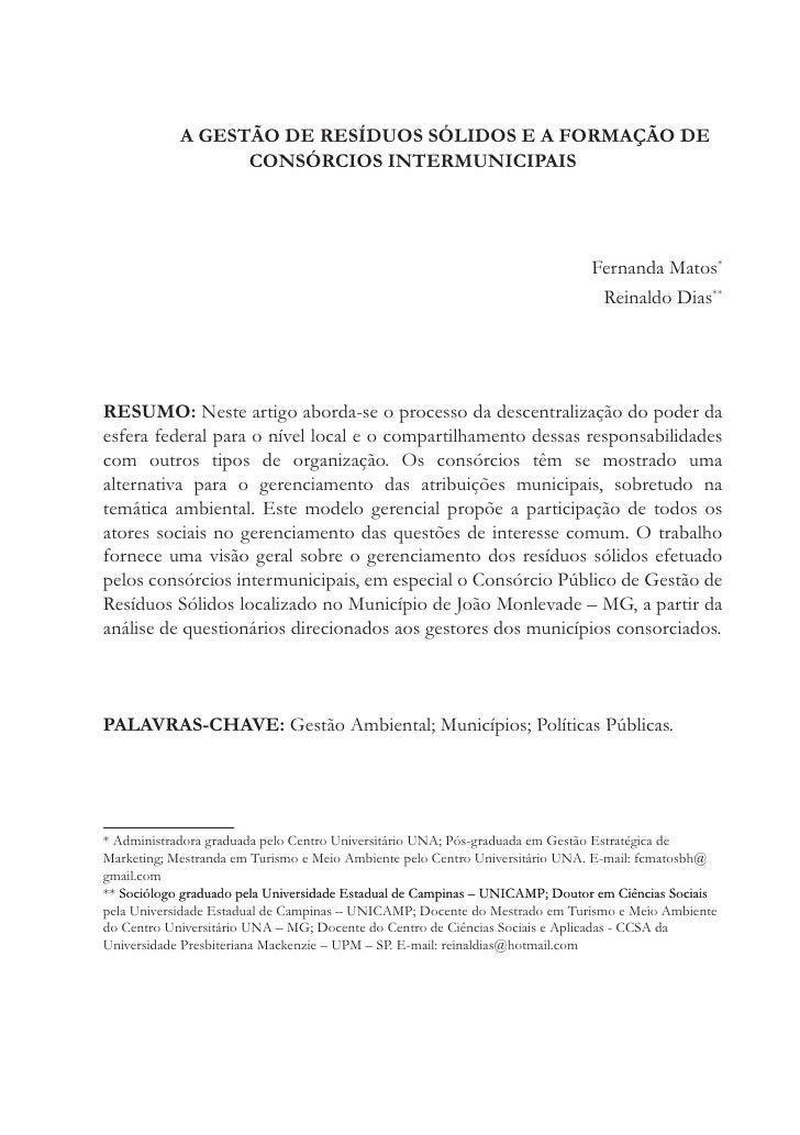 A GESTÃO DE RESÍDUOS SÓLIDOS E A FORMAÇÃO DE                  CONSÓRCIOS INTERMUNICIPAIS                                  ...