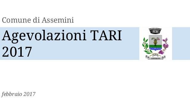 Agevolazioni TARI 2017 Comune Di Assemini Febbraio 2017 ...