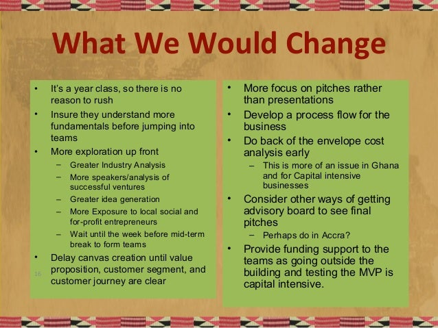 What We Would Change • It's a year class, so there is no reason to rush • Insure they understand more fundamentals before ...