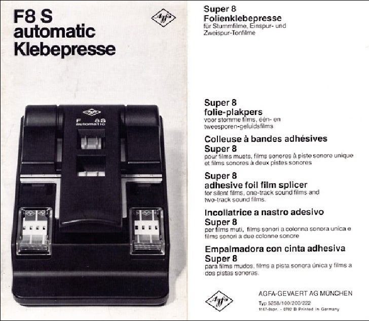 Agfa f8s automatic klebepresse_super 8 adhesive foil film splicer_user manual