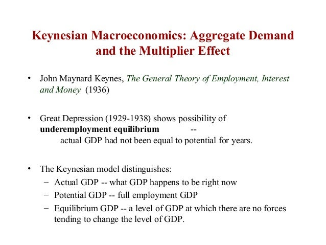 the aggregate demand and keynesian range The importance of aggregate demand is illustrated in figure 1, which shows a pure keynesian ad-as model the aggregate supply curve (as) is horizontal at gdp levels less than potential, and vertical once yp is reached.