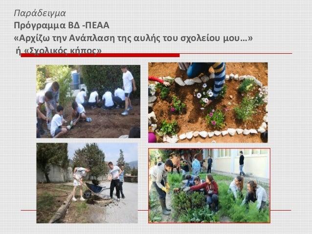 Παράδειγμα Πρόγραμμα ΒΔ -ΠΕΑΑ «Αρχίζω την Ανάπλαση της αυλής του σχολείου μου…» ή «Σχολικός κήπος»