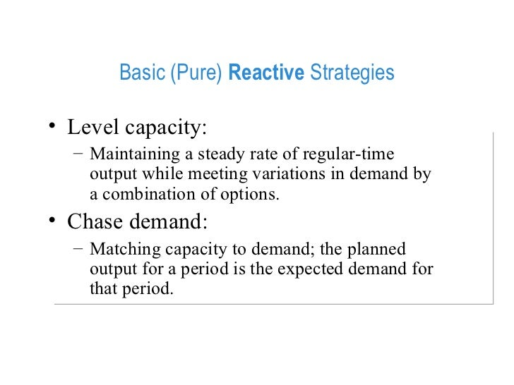 level capacity strategy aggregate planning