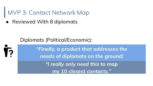 "MVP 3: Contact Network Map ● Reviewed With 8 diplomats Diplomats (Political/Economic): ""I really only need this to map my ..."