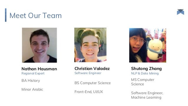 MS Computer Science Software Engineer, Machine Learning NLP & Data Mining Meet Our Team Shutong Zhang BS Computer Science ...