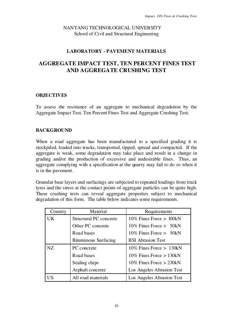 Impact, 10% Fines & Crushing Tests              NANYANG TECHNOLOGICAL UNIVERSITY                 School of Civil and Struc...
