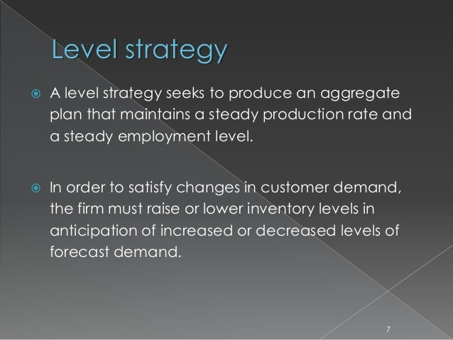 strategic objectives of aggregate planning Aggregate planning helps achieve balance between operation goal, financial goal and overall strategic objective of the organization it serves as a platform to manage capacity and demand planning in a scenario where demand is not matching the capacity, an organization can try to balance both by pricing, promotion, order management and new.
