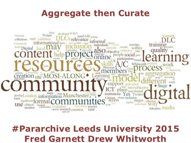 Aggregate then Curate #Pararchive Leeds University 2015 Fred Garnett Drew Whitworth