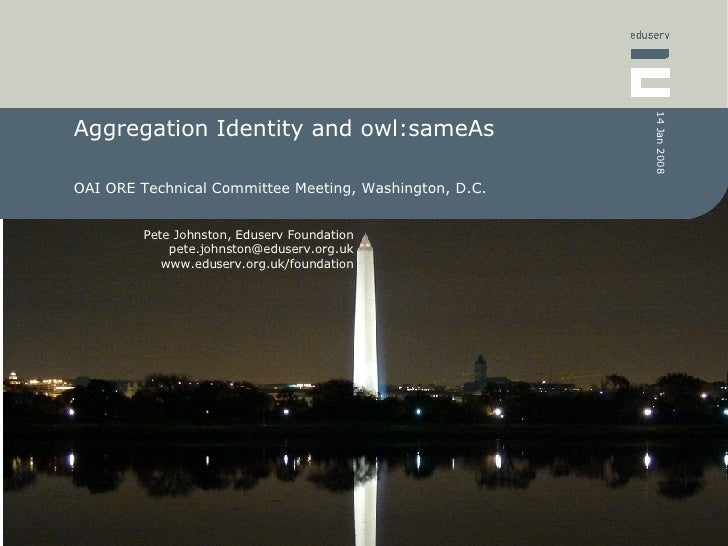 Aggregation Identity and owl:sameAs OAI ORE Technical Committee Meeting, Washington, D.C.
