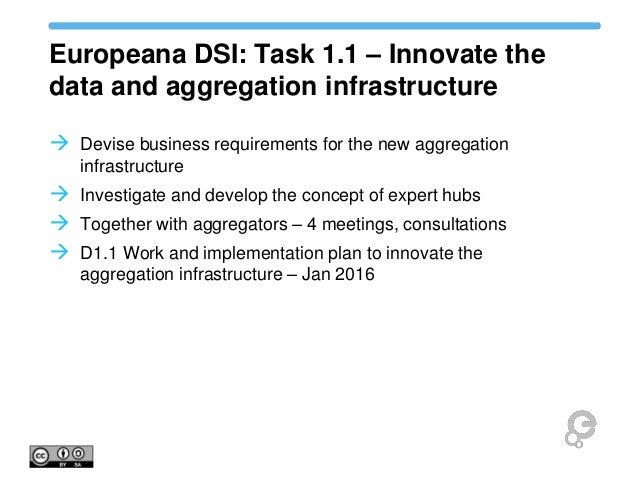 Europeana DSI: Task 1.1 – Innovate the data and aggregation infrastructure  Devise business requirements for the new aggr...