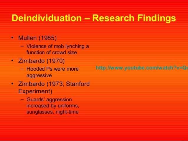 Deindividuation, Anonymity, and Violence: Findings From ...