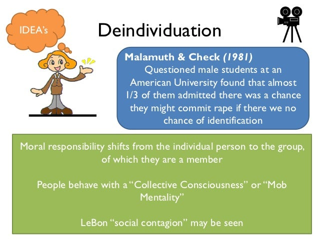 a balance between deindividuation and individuality Online focus groups  the visual anonymity provided by cmc may lead to deindividuation, where a person may lose awareness of their own individuality and that of.