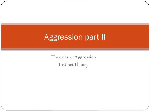 Theories of Aggression InstinctTheory Aggression part II