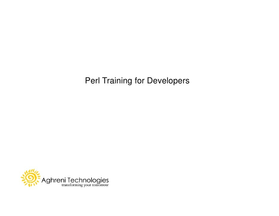 Perl Training for Developers