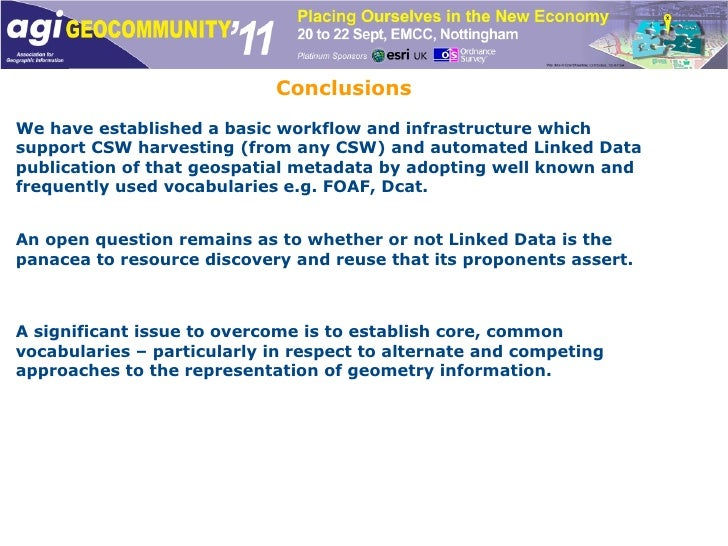 Conclusions We have established a basic workflow and infrastructure which support CSW harvesting (from any CSW) and automa...