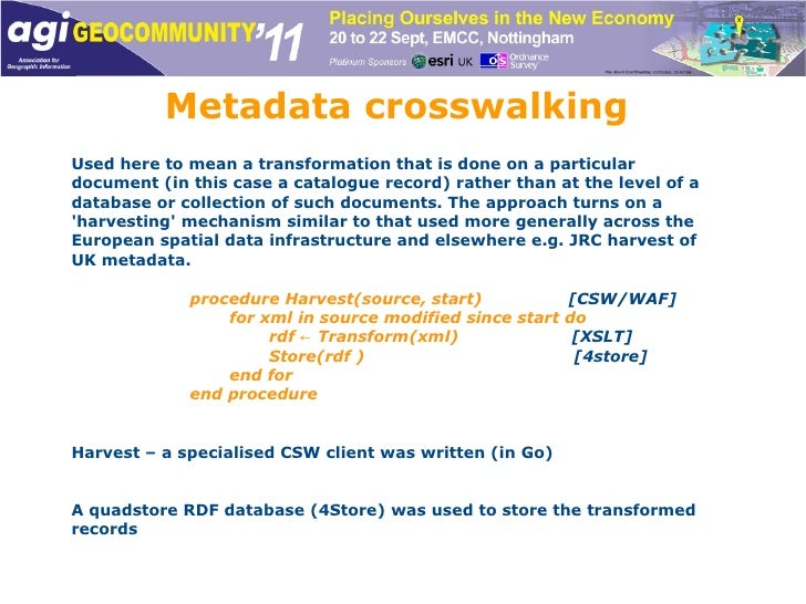 Metadata crosswalking Used here to mean a transformation that is done on a particular document (in this case a catalogue r...