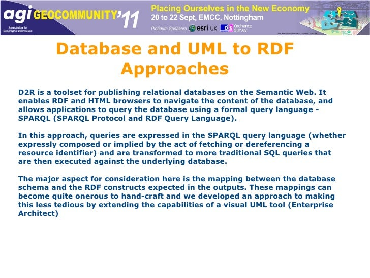 Database and UML to RDF Approaches D2R is a toolset for publishing relational databases on the Semantic Web. It enables RD...