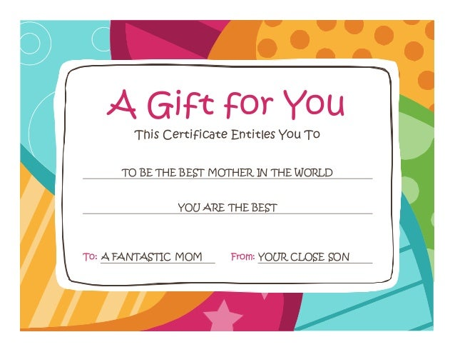 Gift card for This certificate entitles you to