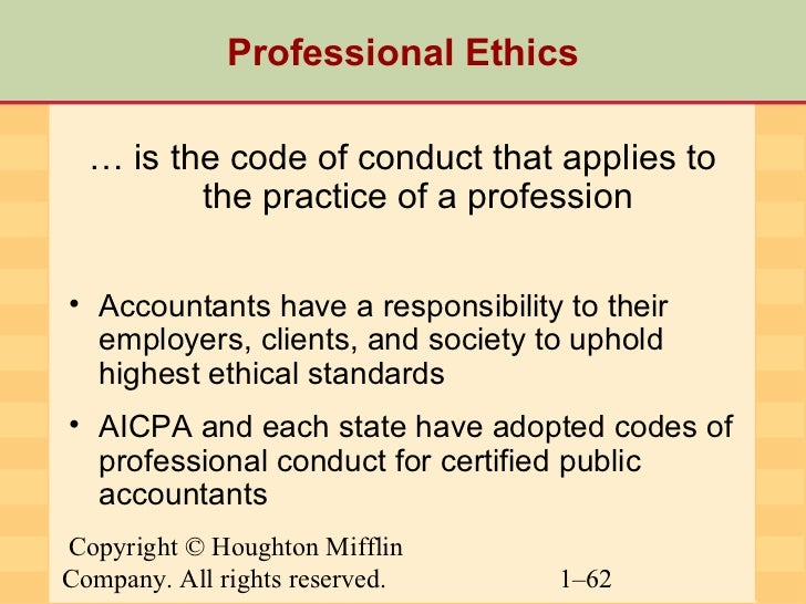 ethics and professionalism in accounting Most states have statues imposing accounting ethics disciplinary proceedings may be  professionalism essay professionalism and teamwork.