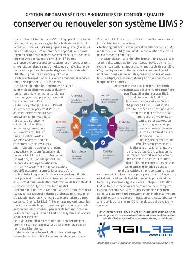 LIMS Gestion informatisée des laboratoires de Contrôle Qualité conserver ou renouveler son système lims ? La majorité des ...