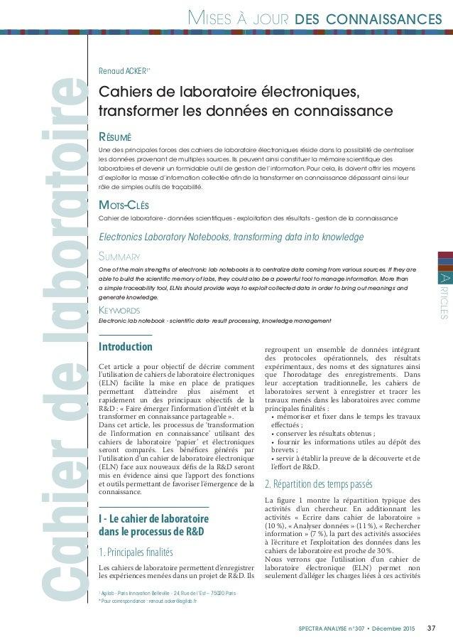 37Spectra ANALYSE n°307 • Décembre 2015 Mises à jour des connaissances rticlesA Cahierdelaboratoire Résumé Une des princip...