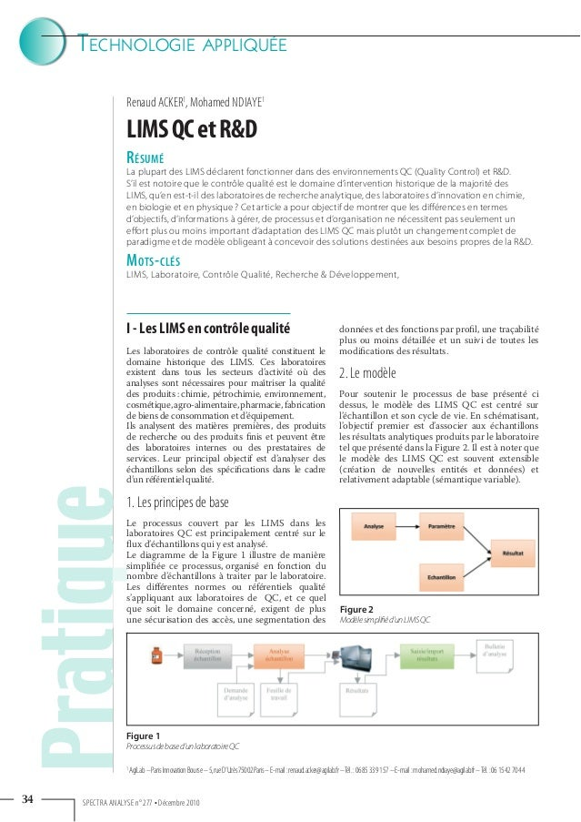 TECHNOLOGIE APPLIQUÉE 34 SPECTRA ANALYSE n° 277 • Décembre 2010 Renaud ACKER1 , Mohamed NDIAYE1 PratiqueLIMSQCetR&D Pratiq...