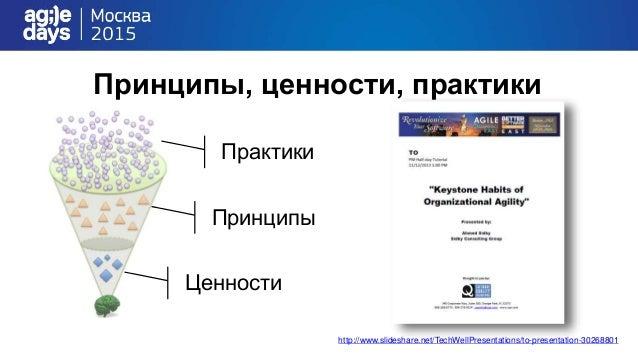 Принципы, ценности, практики http://www.slideshare.net/TechWellPresentations/to-presentation-30268801 Ценности Принципы Пр...