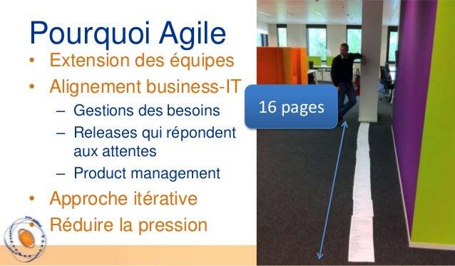 Pourquoi Agile• Extension des équipes• Alignement business-IT   – Gestions des besoins     16 pages   – Releases qui répon...
