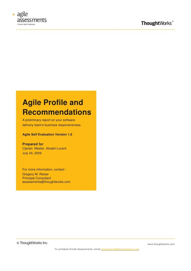 Agile Profile and Recommendations A preliminary report on your software delivery team's business responsiveness.   Agile S...