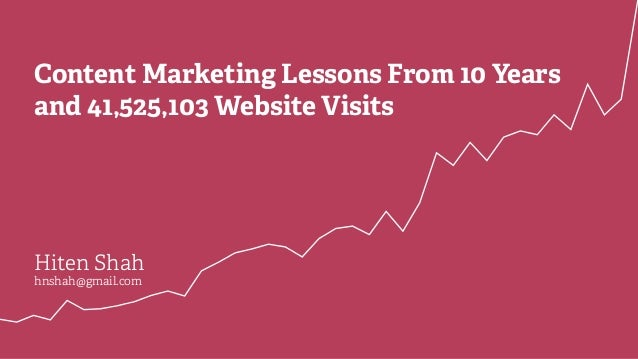 Content Marketing Lessons From 10 Years and 41,525,103 Website Visits Hiten Shah hnshah@gmail.com