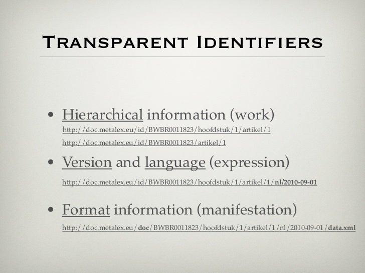 Transparent Identifiers• Hierarchical information (work)  http://doc.metalex.eu/id/BWBR0011823/hoofdstuk/1/artikel/1  http:...