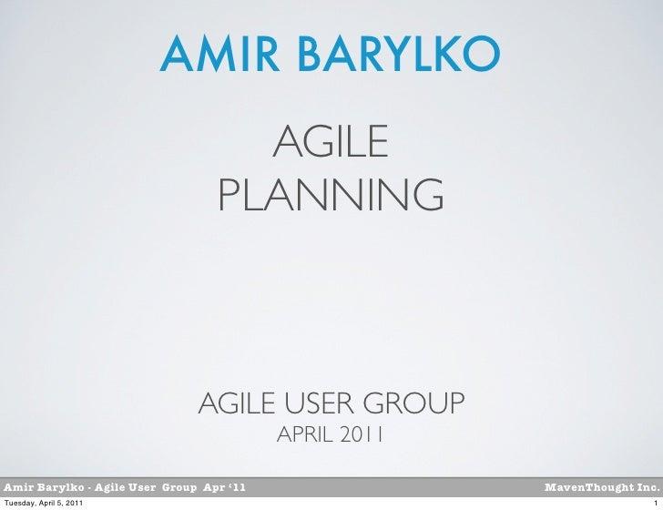 AMIR BARYLKO                                    AGILE                                  PLANNING                           ...