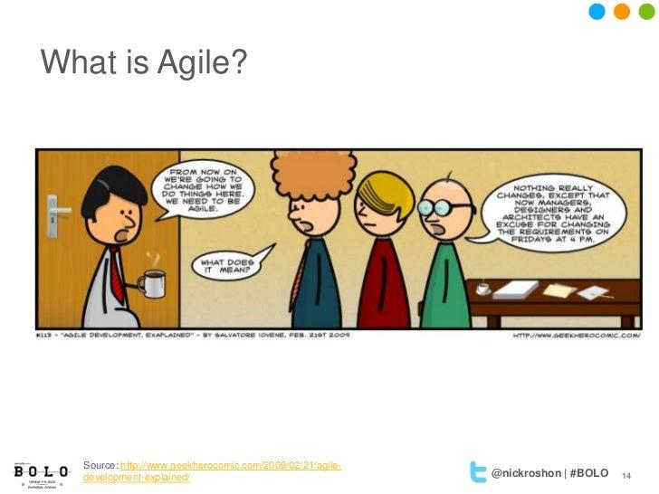 What is Agile?  Source: http://www.geekherocomic.com/2009/02/21/agile-  development-explained/                            ...