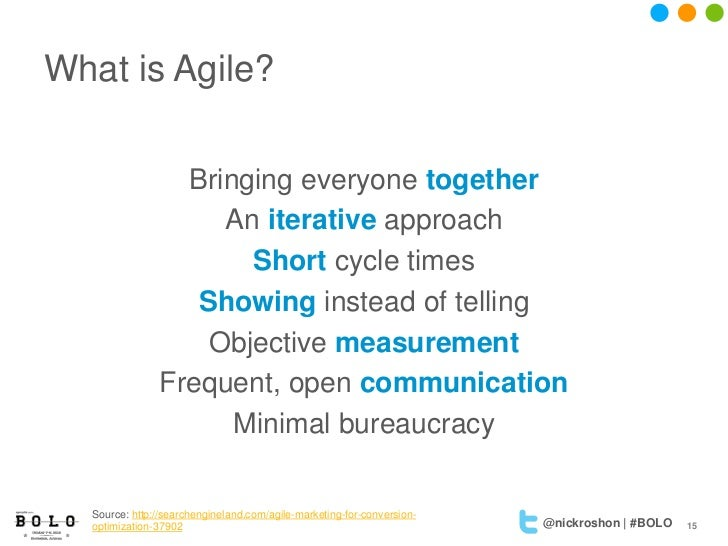 What is Agile?                 Bringing everyone together                    An iterative approach                      Sh...