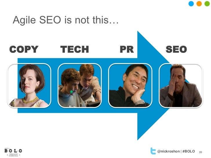 Agile SEO is not this…COPY     TECH            PR       SEO                              @nickroshon | #BOLO   20