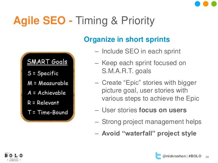 Agile SEO - Timing & Priority              Organize in short sprints                 – Include SEO in each sprint         ...