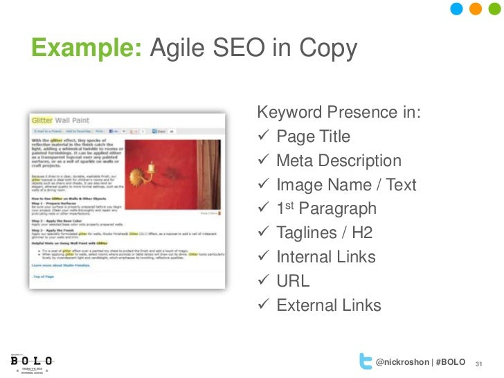 Example: Agile SEO in Copy                  Keyword Presence in:                   Page Title                   Meta Des...