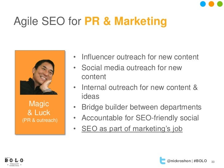 Agile SEO for PR & Marketing                   • Influencer outreach for new content                   • Social media outr...
