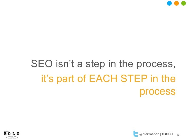 SEO isn't a step in the process, it's part of EACH STEP in the                         process                       @nick...