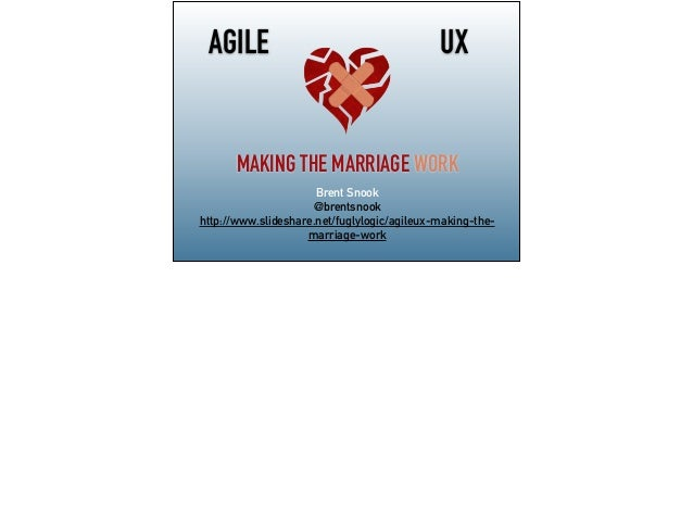 UX MAKING THE MARRIAGE WORK AGILE Brent Snook @brentsnook http://www.slideshare.net/fuglylogic/agileux-making-the- marriag...