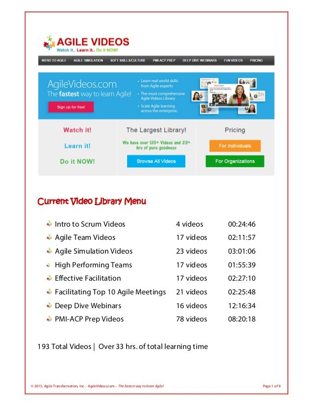 © 2015, Agile Transformation, Inc. - AgileVideos.com – The fastest way to learn Agile! Page 1 of 8  Current Video Library...