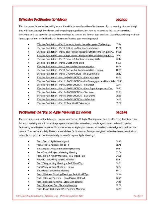 © 2015, Agile Transformation, Inc. - AgileVideos.com – The fastest way to learn Agile! Page 4 of 8 Effective Facilitation ...
