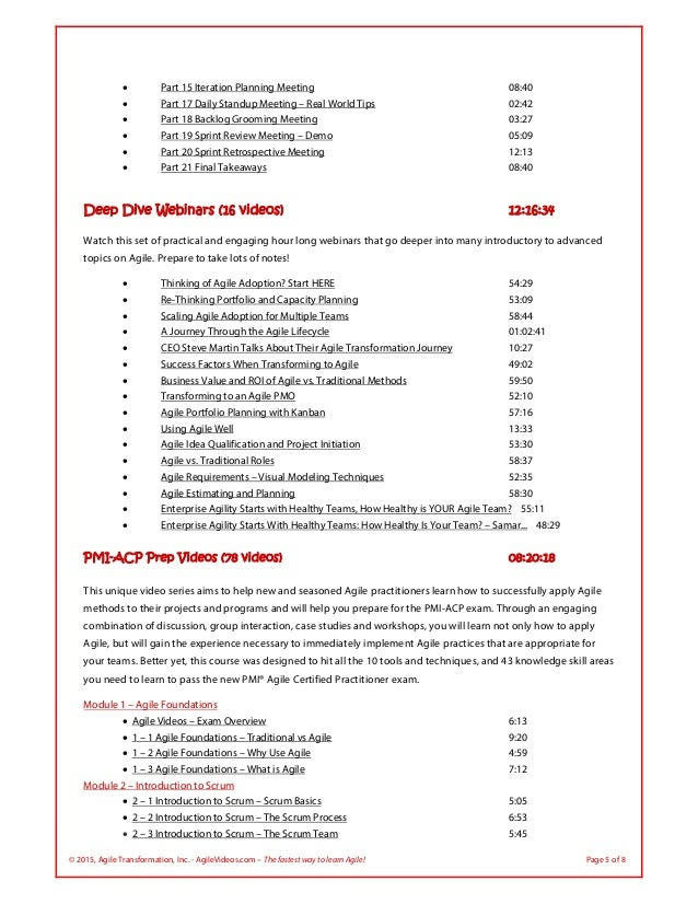 © 2015, Agile Transformation, Inc. - AgileVideos.com – The fastest way to learn Agile! Page 5 of 8  Part 15 Iteration Pla...